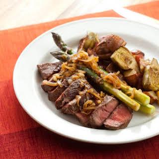 Flat Iron Steaks with Artichoke-Potato Hash, Purple Asparagus & Caramelized Shallots.