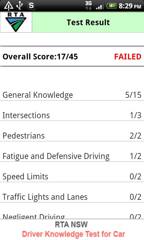 RTA Car Driver Knowledge Test - screenshot