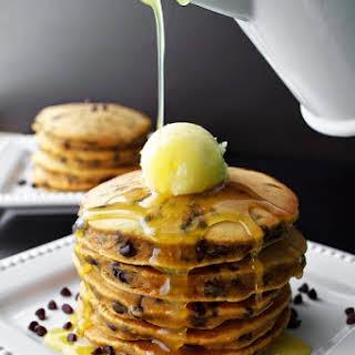 Pumpkin Chocolate Chip Pancakes with Orange Buttermilk Sauce.