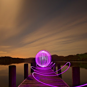Having a ball on a moonlit jetty by Mark Airey - Abstract Light Painting ( light painting, consiton, night photography, orb, led, d7000, lake, long exposure, jetty, nikon, lake district, moonlight )