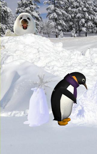 ペンギン雪ライブ壁紙
