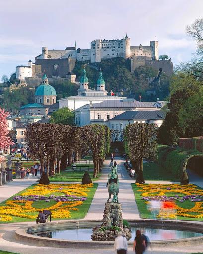 salzburg-city-view - Gardens in Salzburg, Austria.