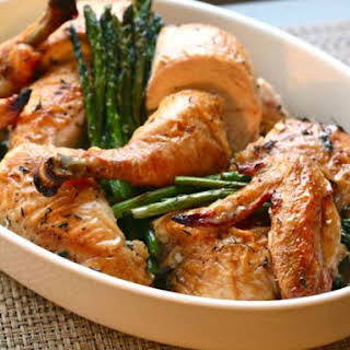 Easy Roast Chicken with Asparagus and Leeks.