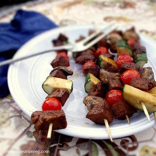 Teriyaki Seitan and Veggie Kebabs