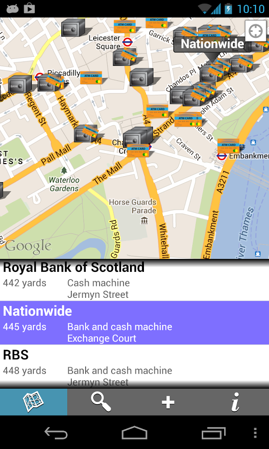 Find Banks and ATMs - screenshot