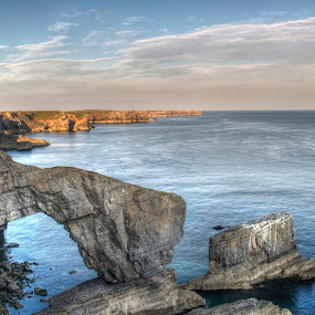 Bridge of Wales by Brian Miller - Landscapes Caves & Formations ( cliffs, wales, sunset, sea, coast )