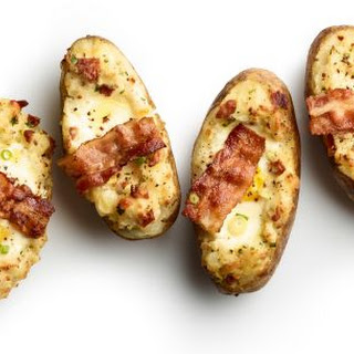 Twice-Baked Potatoes with Bacon and Eggs.