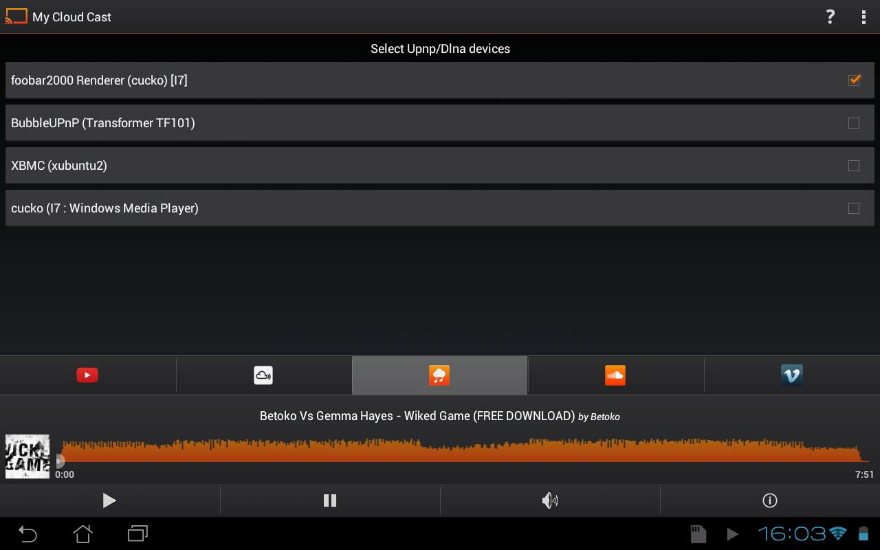 My Cloud Cast Upnp/Dlna client- screenshot