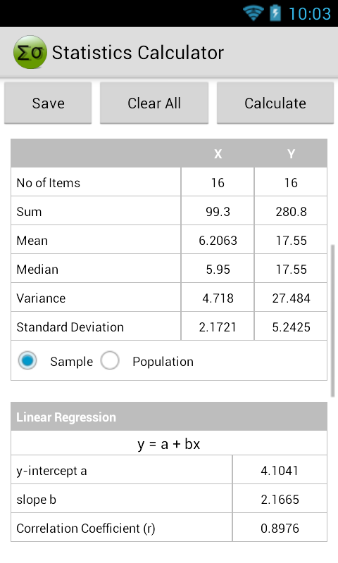 Statistics Calculator - screenshot