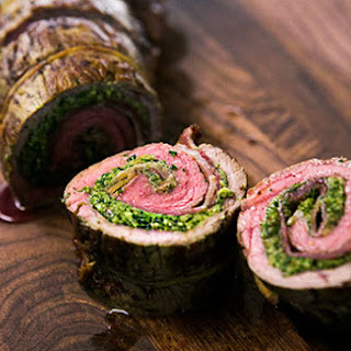 Beef Roulades with Walnut Parsley Pesto.