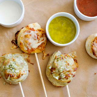 Pizza Skewers with Garlic Butter Dipping Sauce.