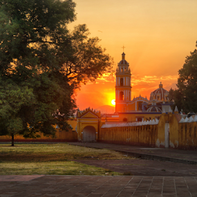 Church and sunset by Cristobal Garciaferro Rubio - Buildings & Architecture Other Exteriors ( cholula, church, mexico, sunset, puebla, sun )