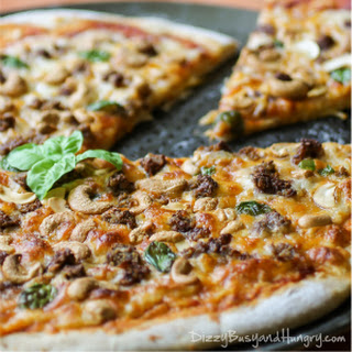 Cashew Sausage Basil Pizza