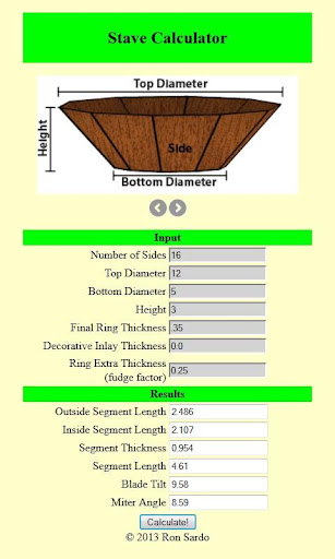 Woodturning Stave Calculator