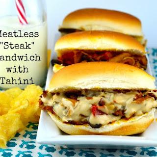 "Meatless ""Steak"" Sandwich with Tahini."