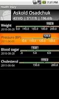 Screenshot of Health Diary