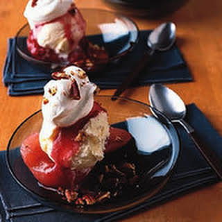 Cranberry Poached Pear Splits.