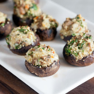 Quinoa and Sausage Stuffed Mushrooms.