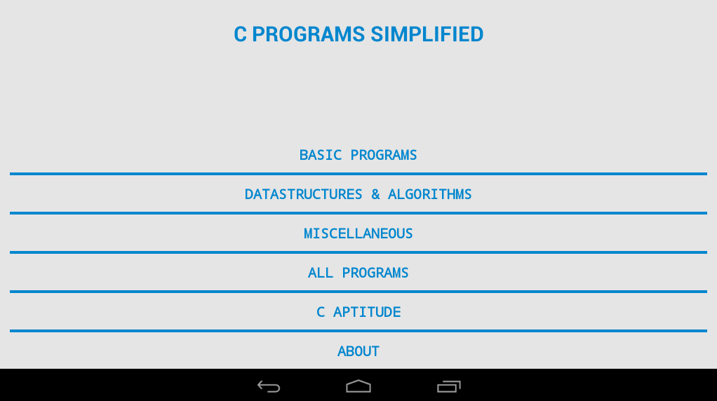 C PROGRAMS SIMPLIFIED - screenshot