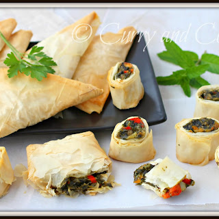 Spanakopita Triangles and Spirals in Phyllo Dough.