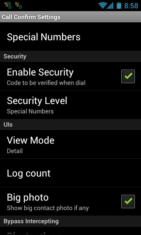 Outgoing Call Blocker ProKey - screenshot