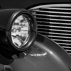Grilled by David Goss - Black & White Abstract ( abstract, b&w, cars, black & white, headlight, sfx pro2,  )
