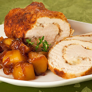 Gruyere-Stuffed Chicken w/Caramelized Apples and Onions.