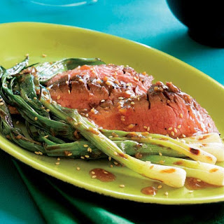 Grilled Flank Steak with Sesame Sauce & Grilled Scallions.
