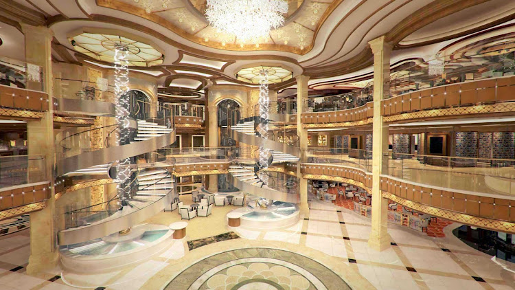 Royal Princess' large piazza-style atrium, seen from deck 7, features  spiral staircases, dining options that include Gelato and the Ocean Terrace Seafood Bar, and live entertainment from the nearby bar or lounge.