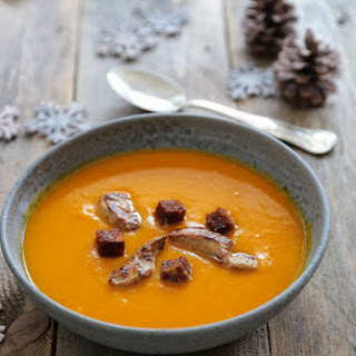 Pumpkin Soup with Pan Seared Foie Gras and Gingerbread