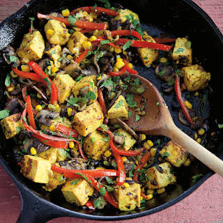 Tofu Scramble with Corn, Mushrooms and Bell Peppers.