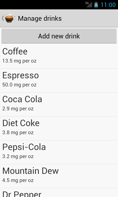Caffeine Tracker Lite- screenshot