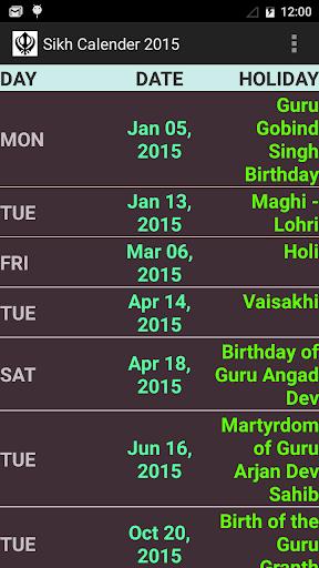 SIKH FESTIVAL CALENDER 2015