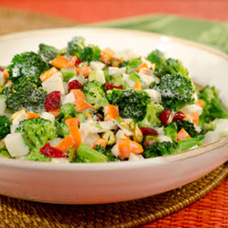 Broccoli Slaw With Dried Cranberries And Pistachios.