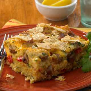 Mexican Tortilla Breakfast Casserole.
