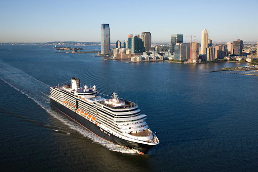 An aerial view of Eurodam sailing past New York. The Holland America ship cruises to the Caribbean as well as the Baltic Sea, Norwegian fjords, Northern Atlantic and Atlantic Canada/New England.