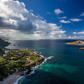Waimanalo from Above by Jason Rose - Landscapes Travel ( beaches, paragliding, coral, waimanalo, islands, squall, sea life park, hawaii )