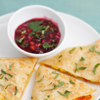 Quesadillas with Onion-Cranberry Salsa