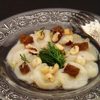 Hazelnut-Flavored Scallop Carpaccio.