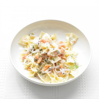 Farfalle Pasta with Smoked Salmon and Cream Cheese.