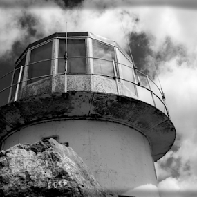 Lighthouse, Cape Point by Leanne Oosthuizen - Buildings & Architecture Public & Historical ( clouds, white, lighthouse, dramatic, rock, tall, black )
