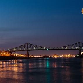 by Flavio Mini - City,  Street & Park  Night ( water, montreal, quebec, waterscape, full moon, bridge, cityscape,  )