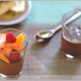 Dark Chocolate Custard and Colored Seasonal Fruit Recipe