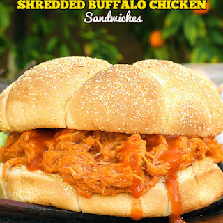 Easy Shredded Buffalo Chicken Sandwiches