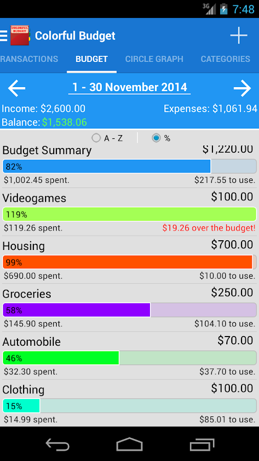 Colorful Budget - screenshot