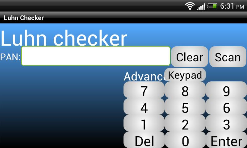 Luhn Checker- screenshot