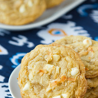 White Chocolate Macadamia Cookies with Toasted Coconut.