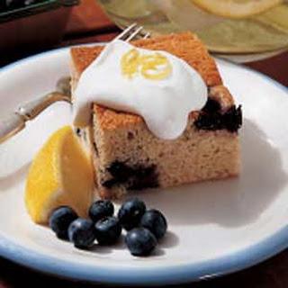 Blueberry Pudding with Lemon Cream Sauce.