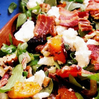 Roasted Squash and Arugula Salad with Pecans, Bacon, and Goat Cheese.