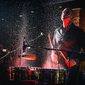 Water Drums by Daniel Craig Johnson - People Musicians & Entertainers ( lighting, musician, glow, drums, portrait, mood factory, color, moods, colorful, light, bulbs, mood-lites )